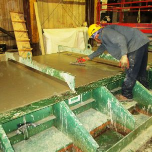 Concrete pool wall casting.